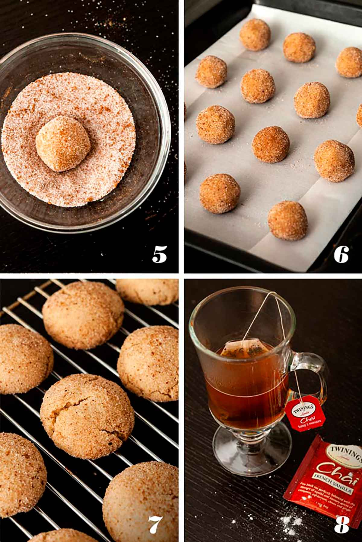 A collage of 4 numbered images showing how to make pumpkin spice snickerdoodles.
