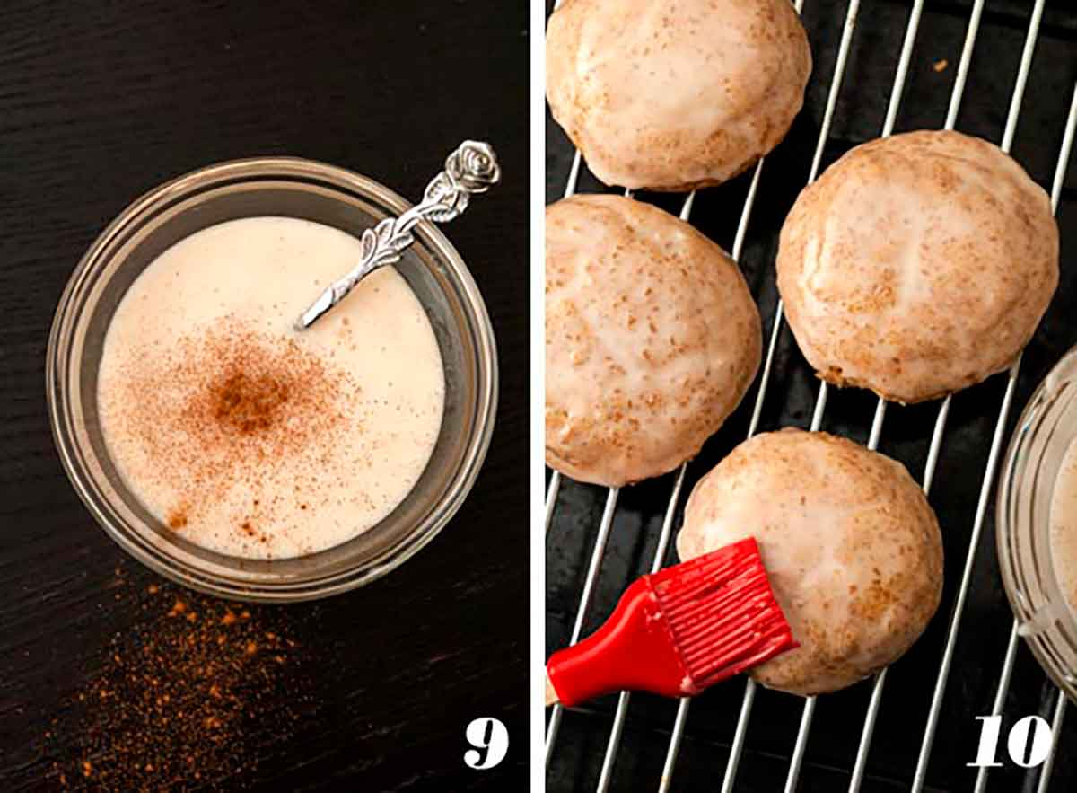 2 numbered images showing how to glaze pumpkin spice snickerdoodles.
