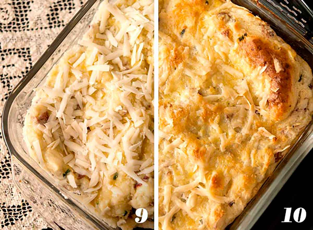 2 numbered images showing how to make baked mashed potatoes.