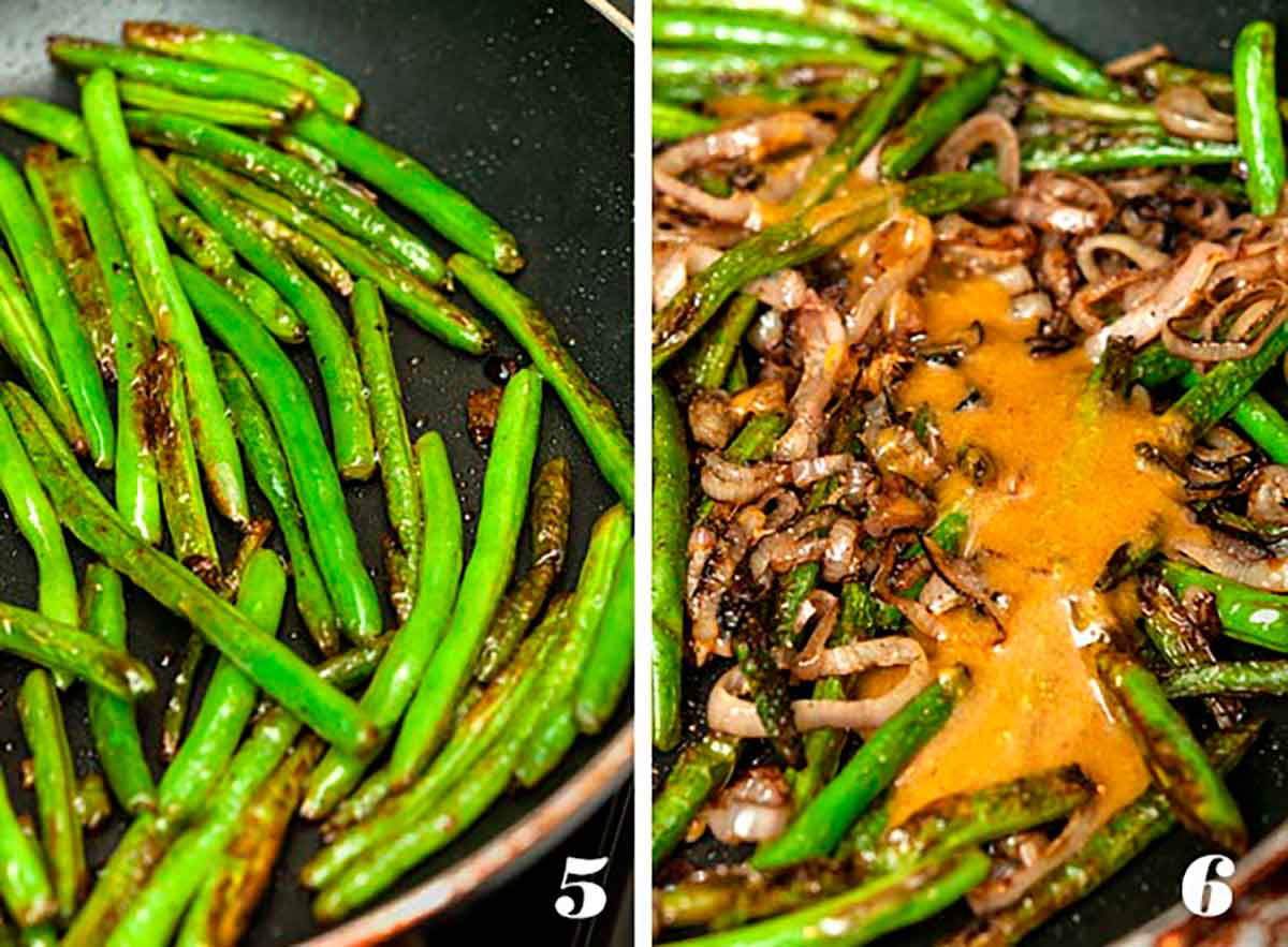 2 numbered images showing how to sauté beans and shallots.