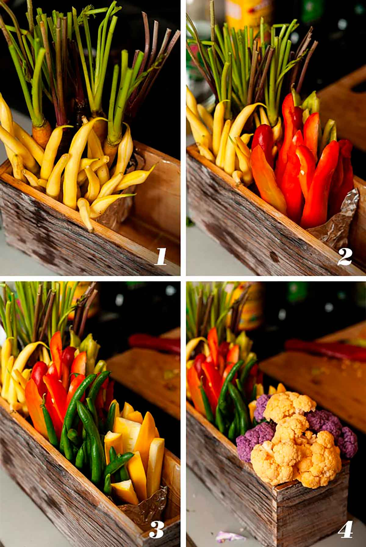 A collage of 4 numbered images showing how to make a flower-box crudités.