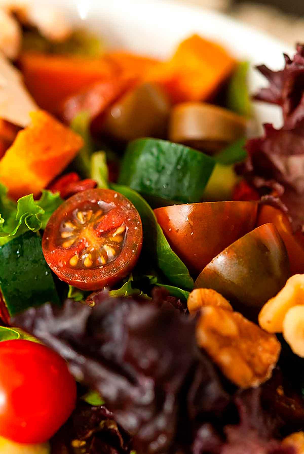 A close shot of a colorful salad.