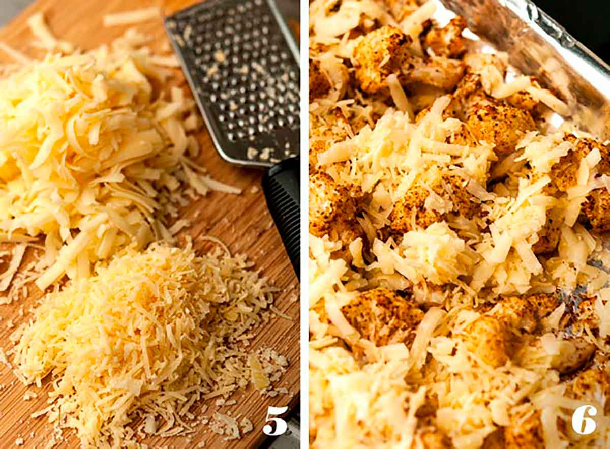 2 numbered images showing how to make roasted cauliflower with cheese.