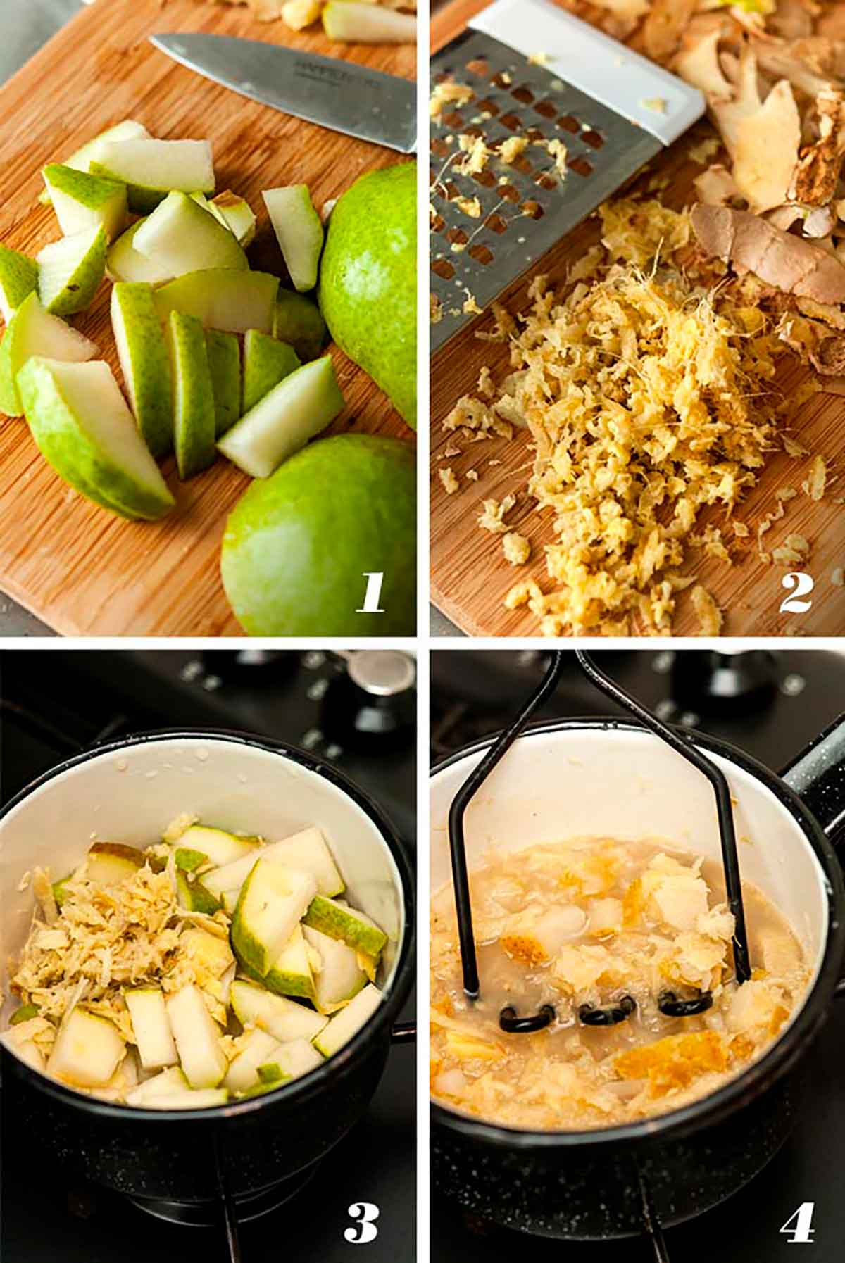 A collage of 4 numbered images showing how to make pear-ginger syrup.