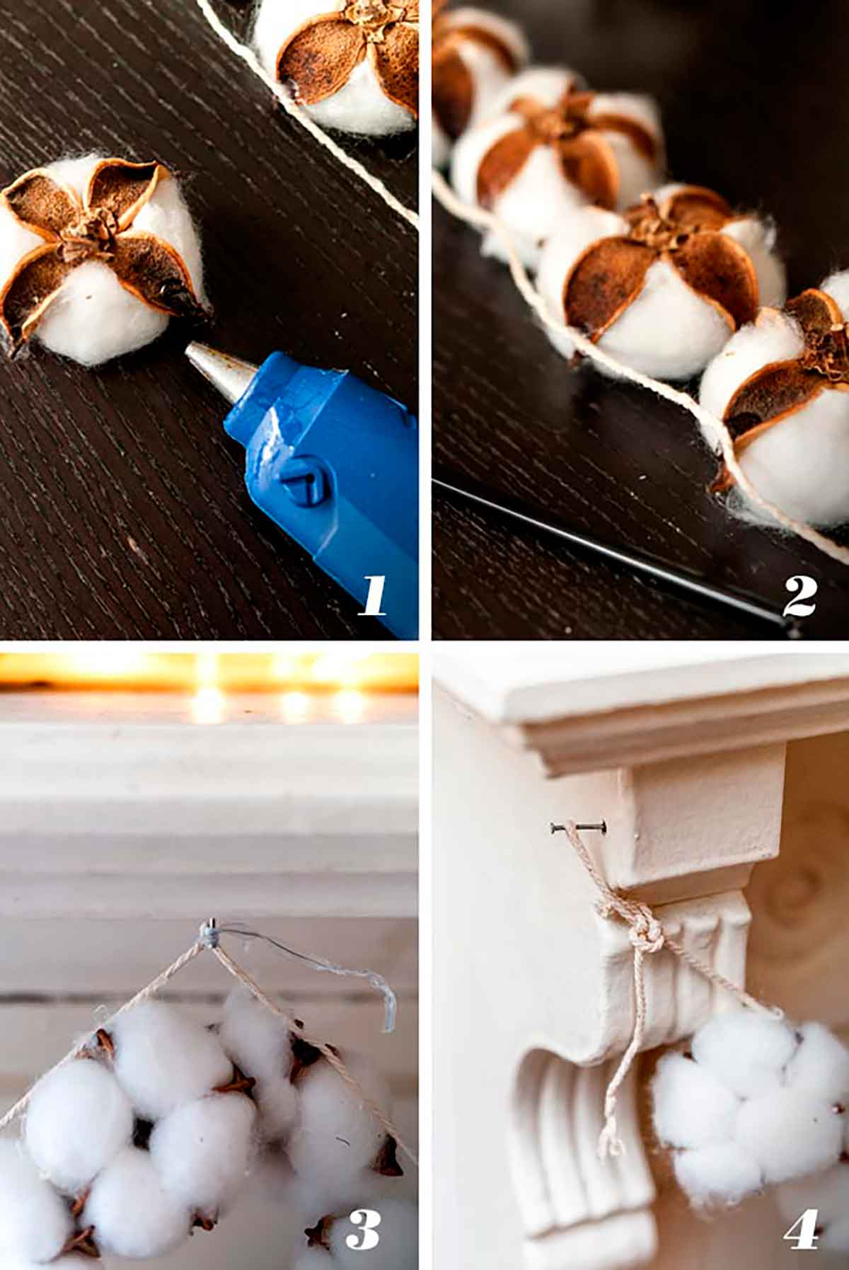 A collage of 4 numbered images showing how to make cotton garland.