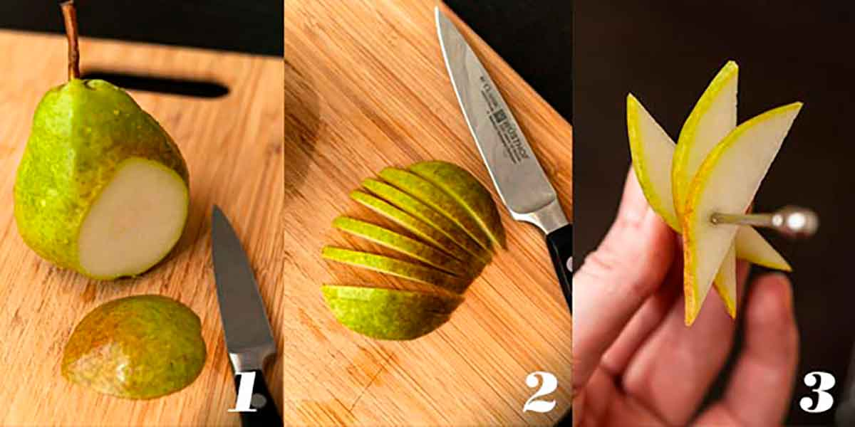 A collage of 3 numbered images showing how to make a pear garnish.