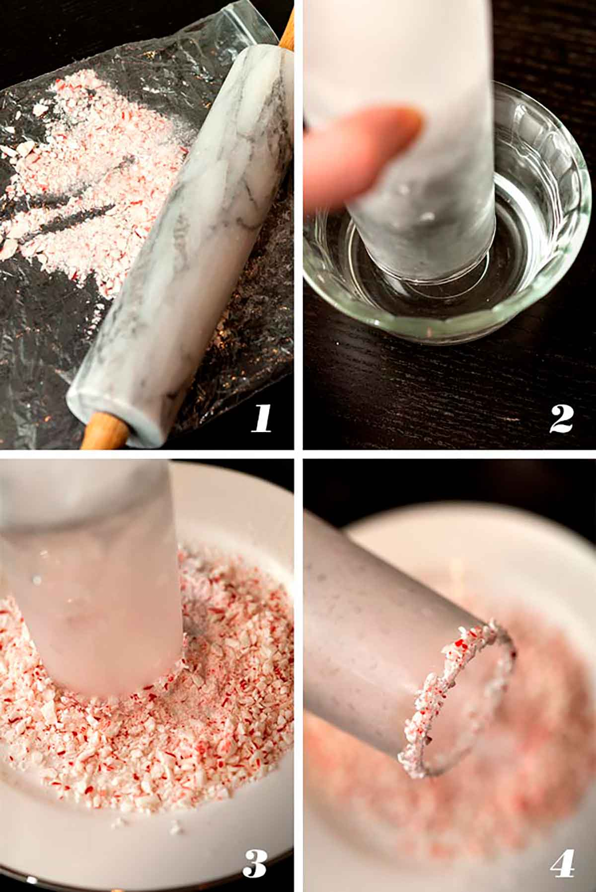 A collage of 4 numbered images showing how to make a candy cane garnish.
