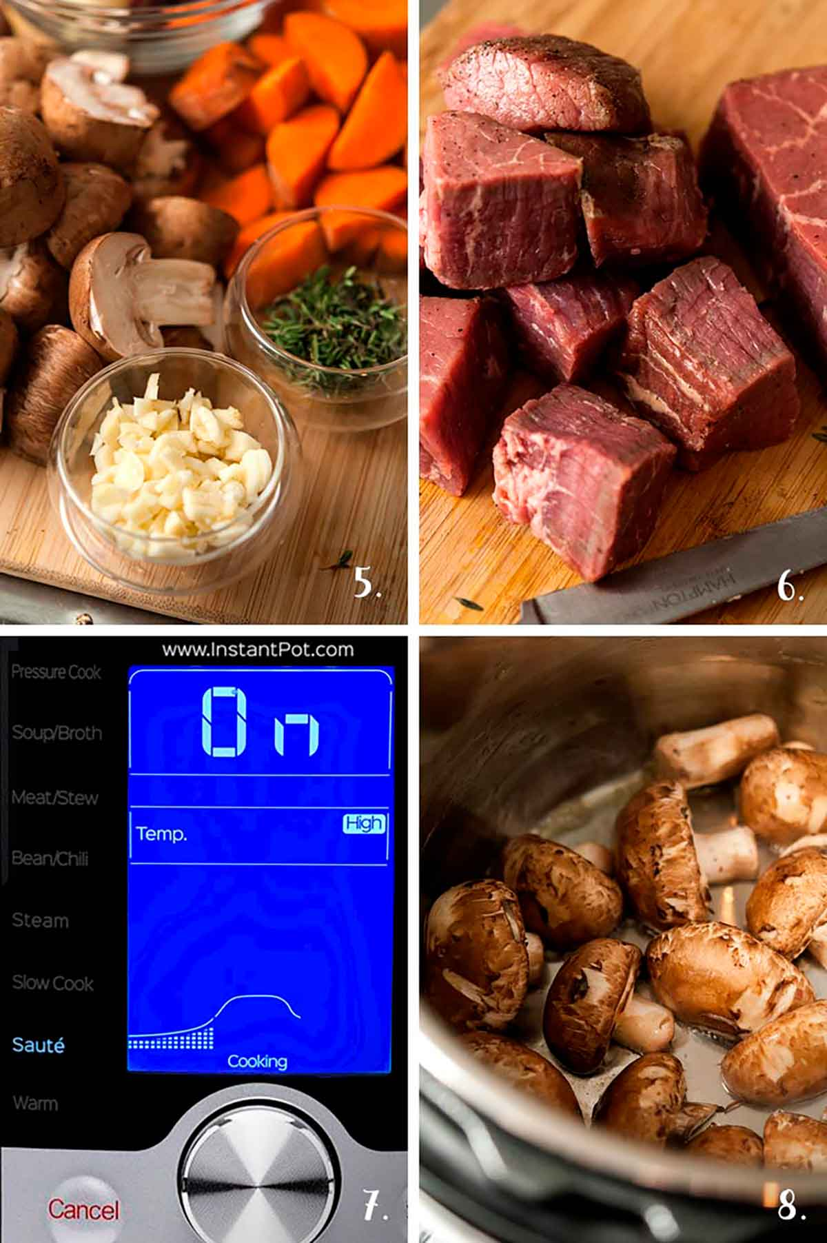 A collage of 4 numbered images showing minced garlic and thyme, cut meat, cooking mushrooms and Instant Pot directions.