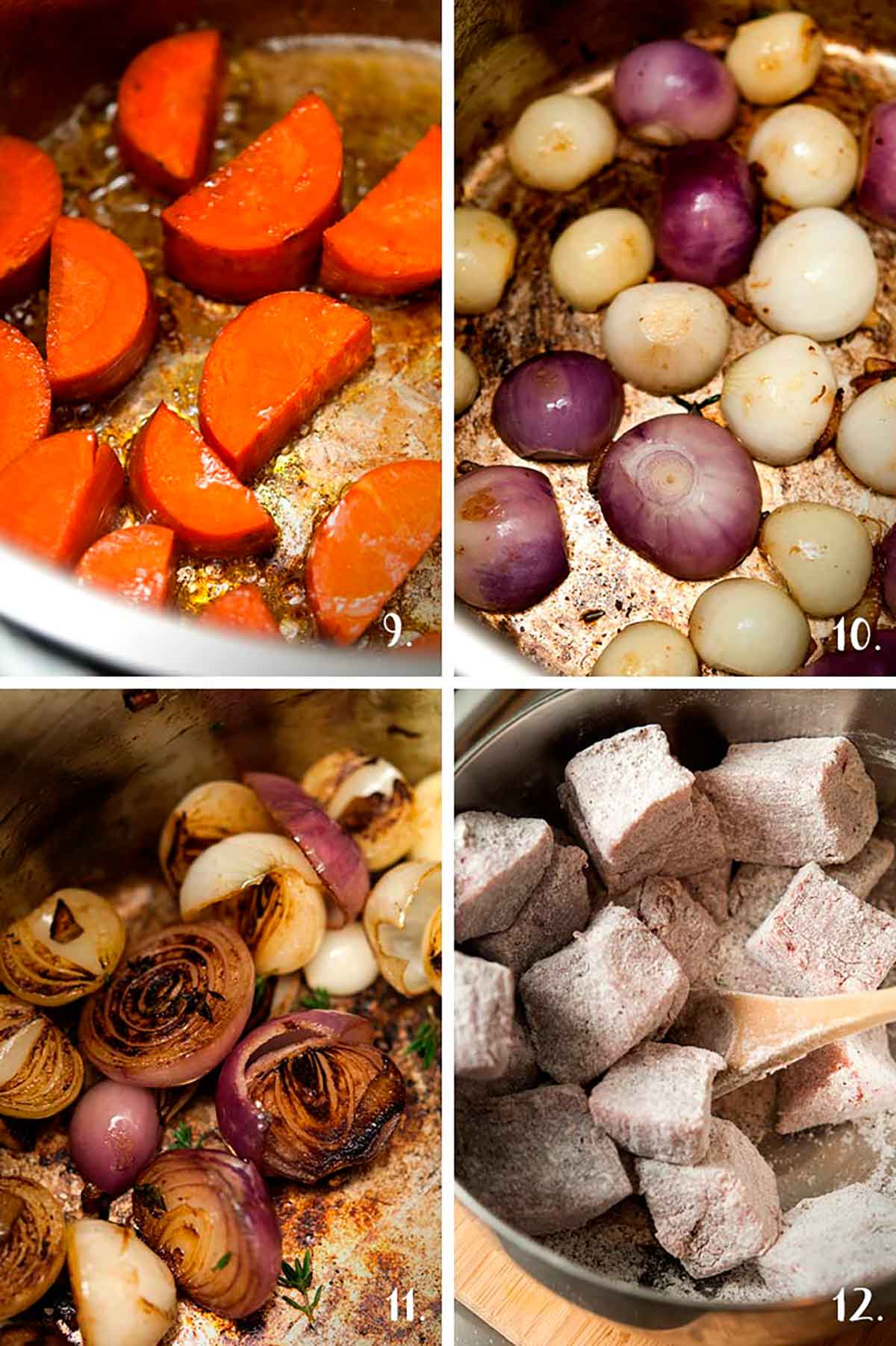 A collage of 4 numbered images showing of browning vegetables and coating meat in flour and spices.