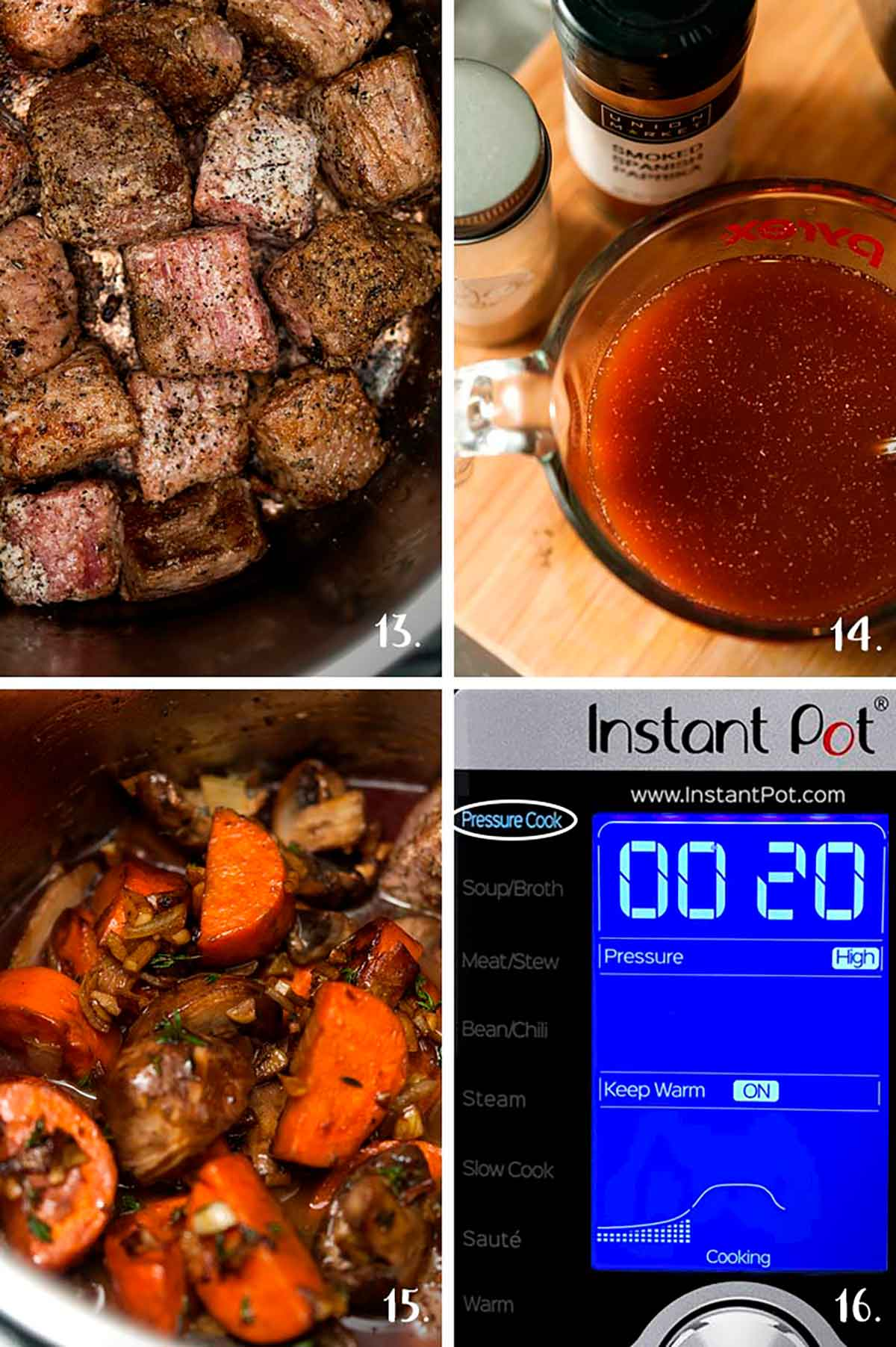 A collage of 4 numbered images showing browning meat and and vegetables in an Instant Pot.
