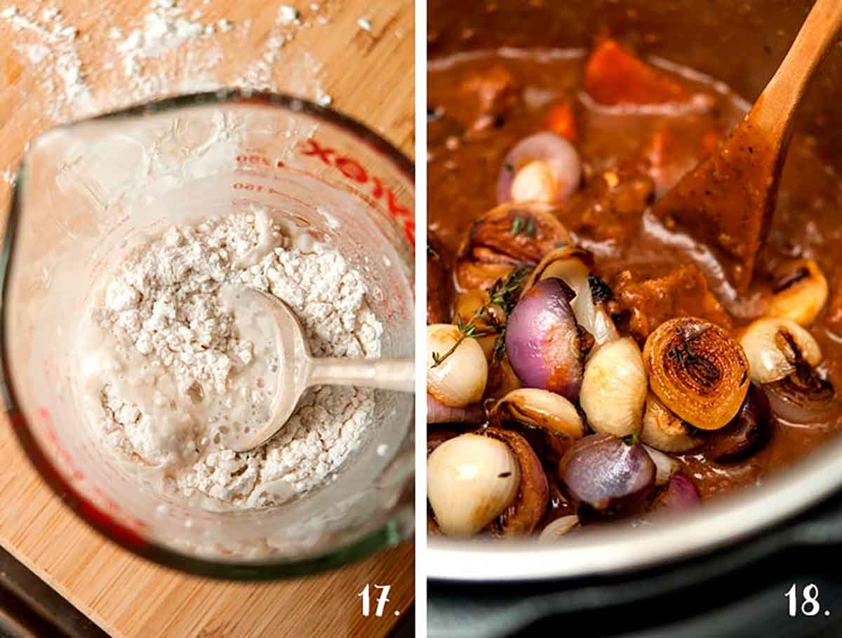 2 images. On the left, a measuring cup with a mix of flour and water. On the right, Beef Bourguignon in an Instant Pot.