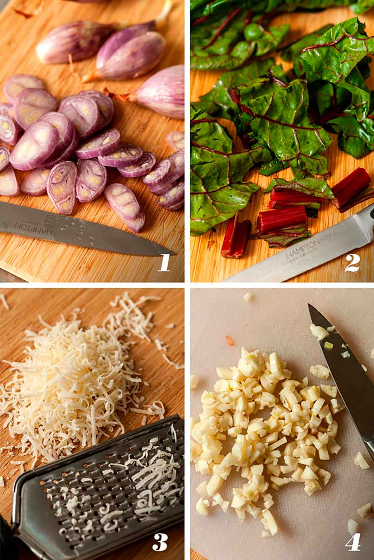 A collage of 4 numbered images showing how to prep ingredients.