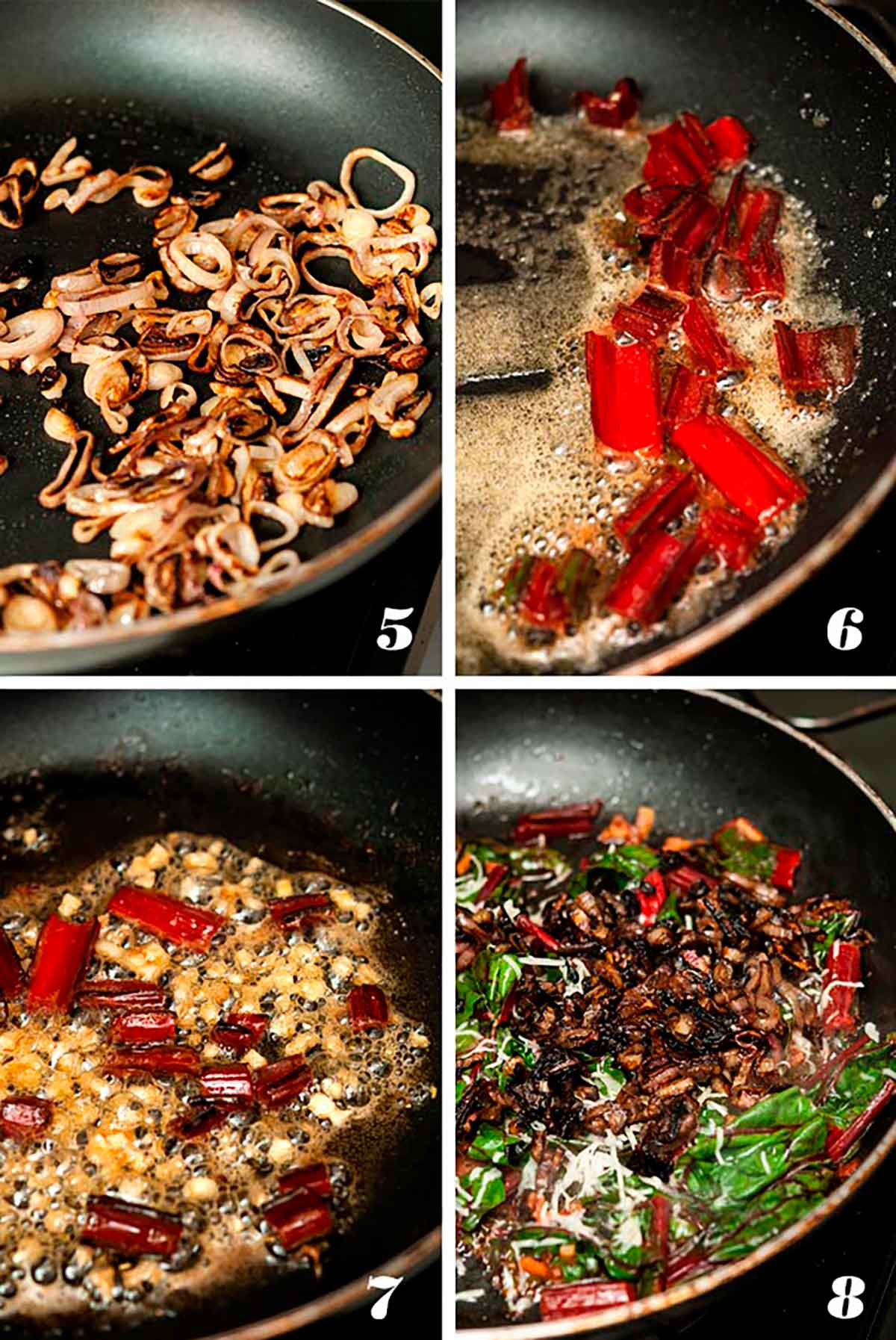 A collage of 4 numbered images showing how to caramelize shallots, and sauté chard.