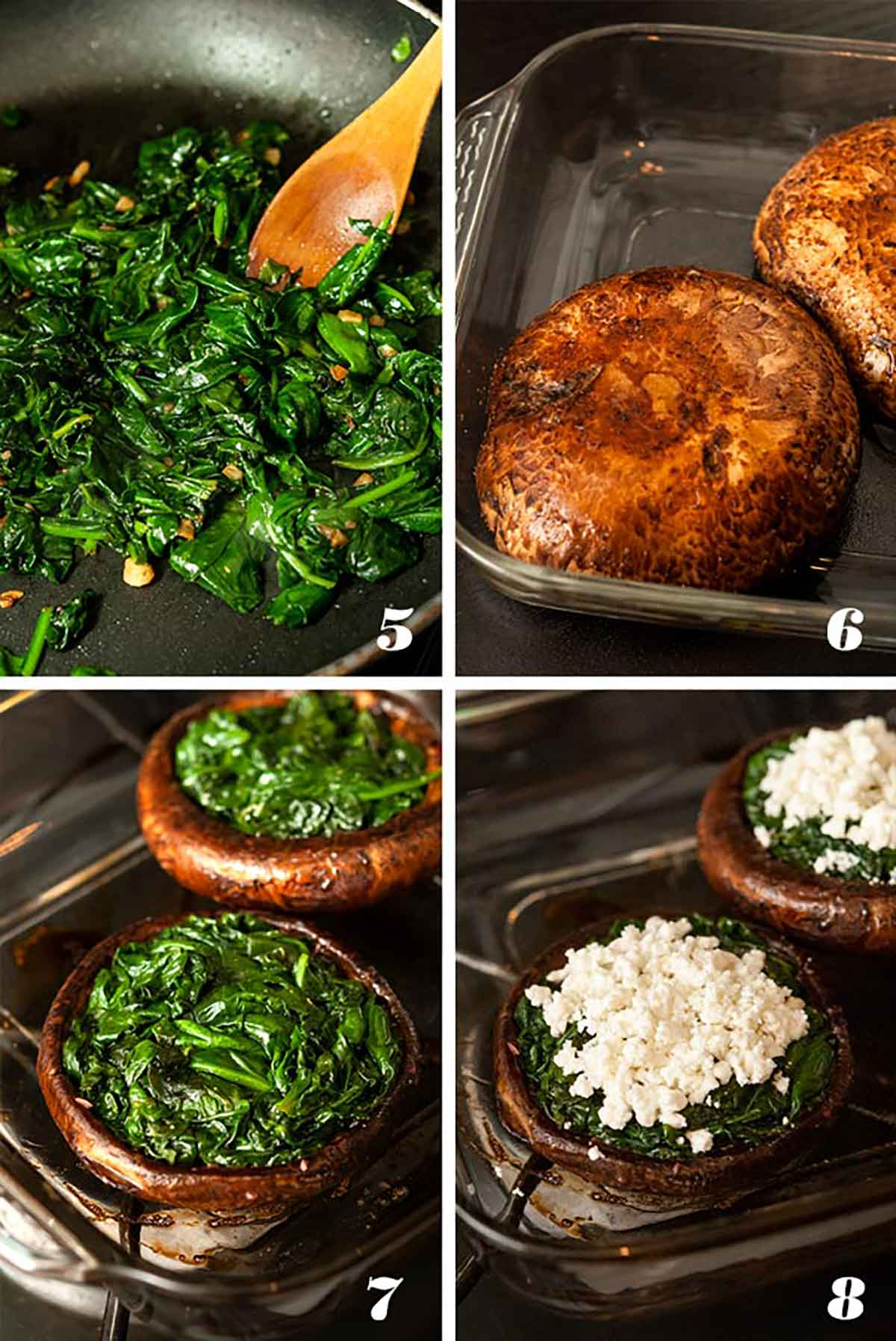 A collage of 4 numbered images showing how to make stuffed portobello mushrooms.