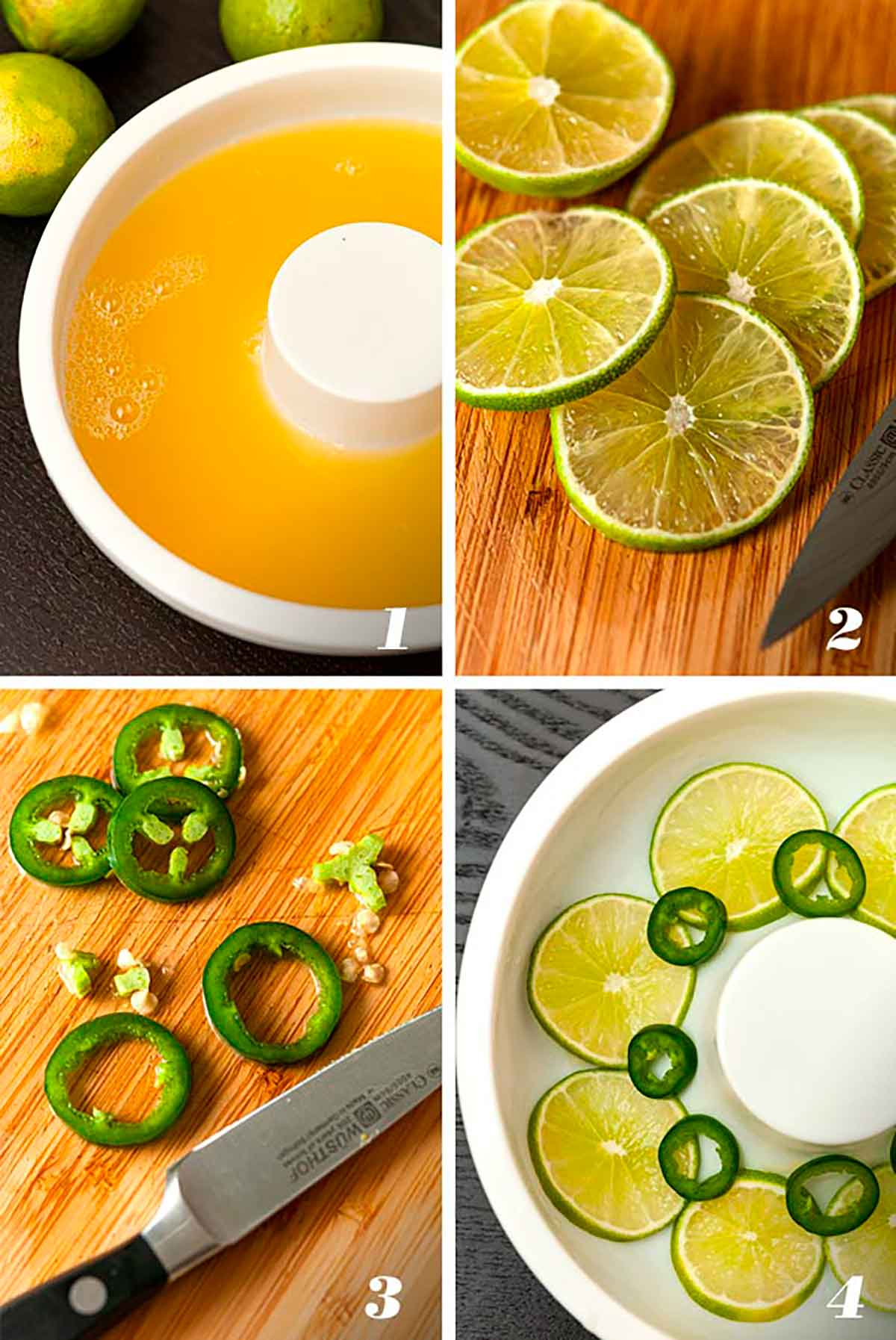 A collage of 4 numbered images showing how to make a pineapple juice ice ring with limes and jalapeños.