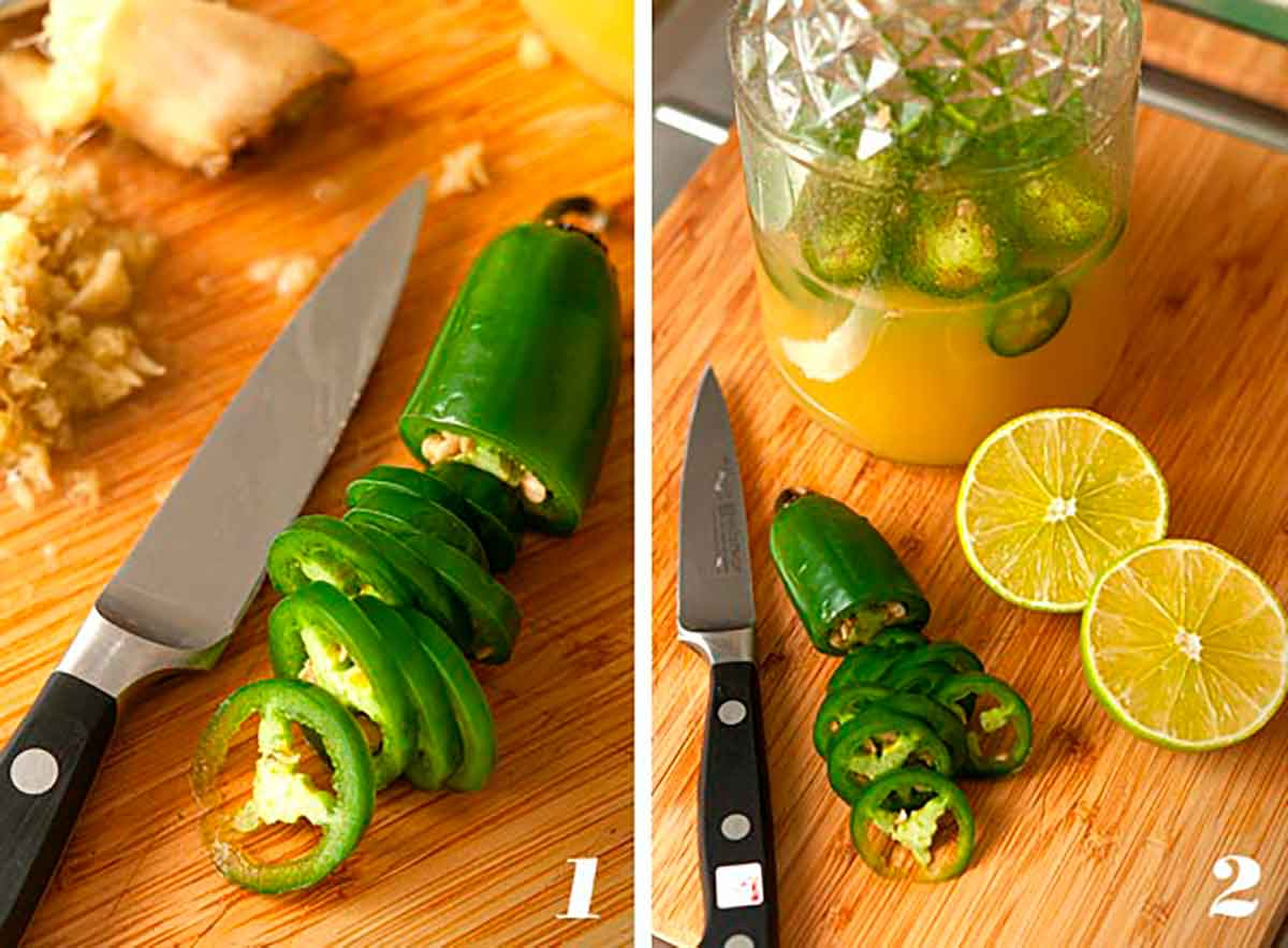 2 numbered images showing how to make jalapeño-ginger-lime-infused pineapple juice.