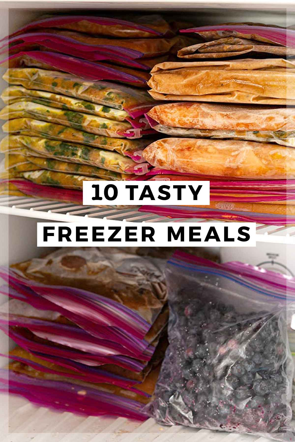 """An image of freezer meals with a title that says """"10 Tasty Freezer Meals."""""""