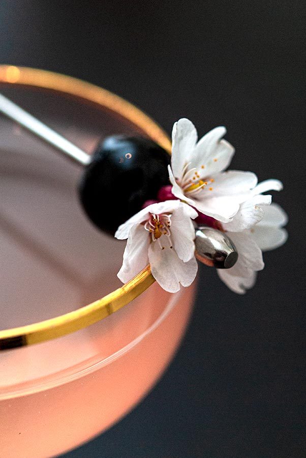 A closeup of a cherry and cherry blossom cocktail garish on the edge of a glass.