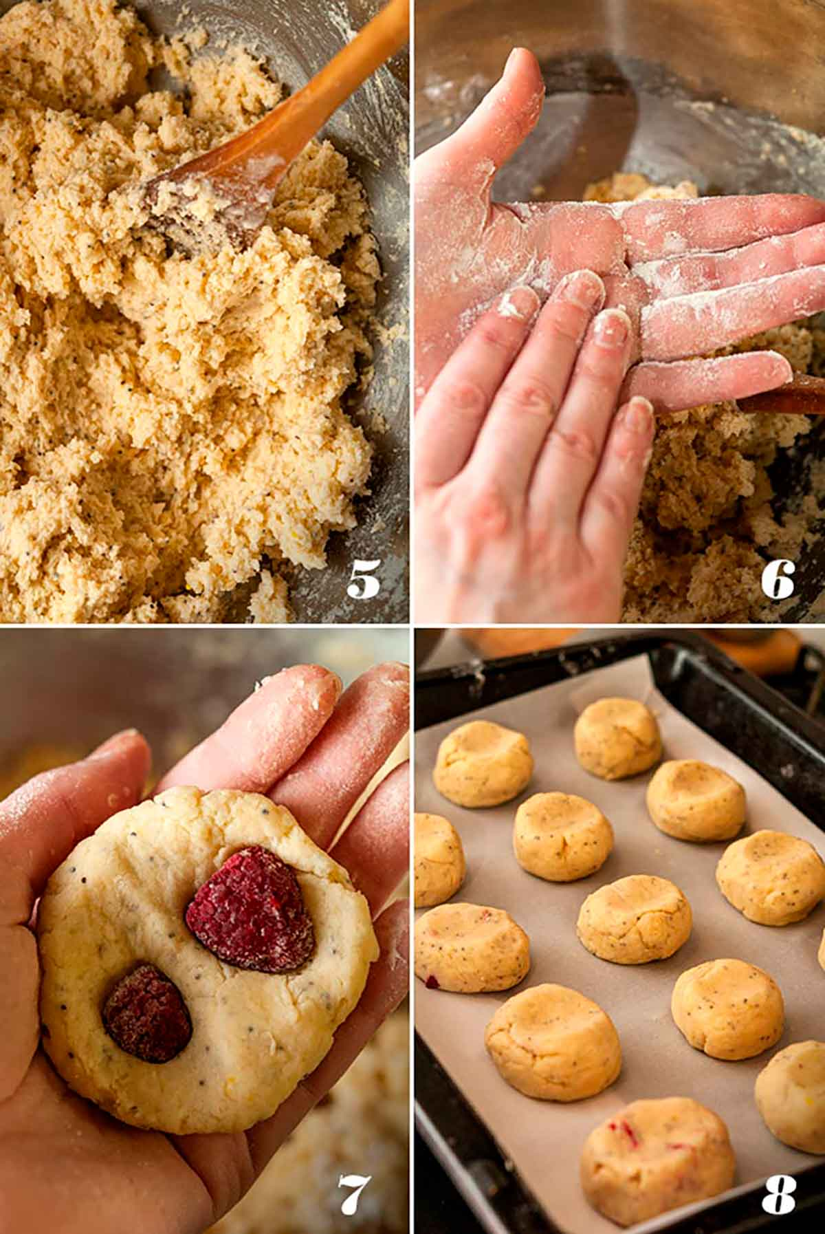A collage of 4 numbered images showing how to make glazed raspberry lemon poppyseed scones.