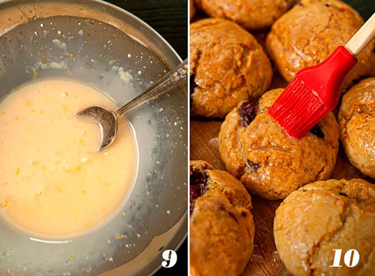2 numbered images showing how to make glaze, and how to glaze scones.