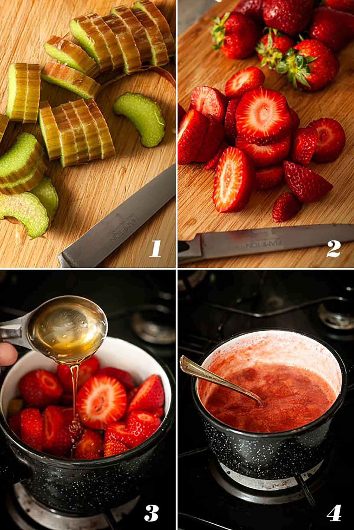 A collage of 4 numbered images showing how to make strawberry rhubarb compote.