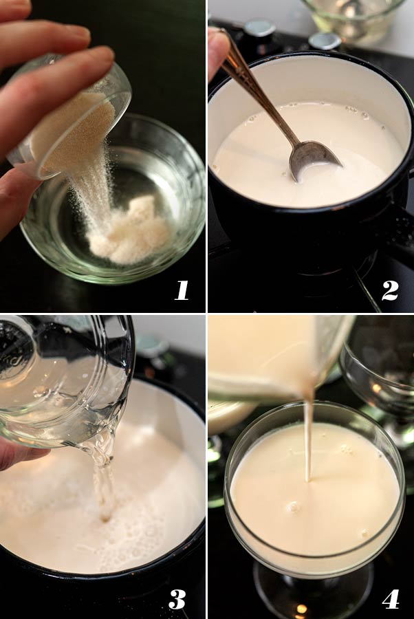 A step by step process showing how to make panna cotta.