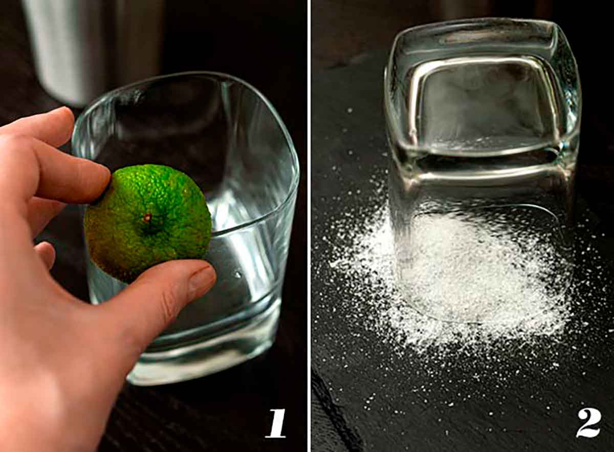 2 numbered images showing how to rim a glass with salt.