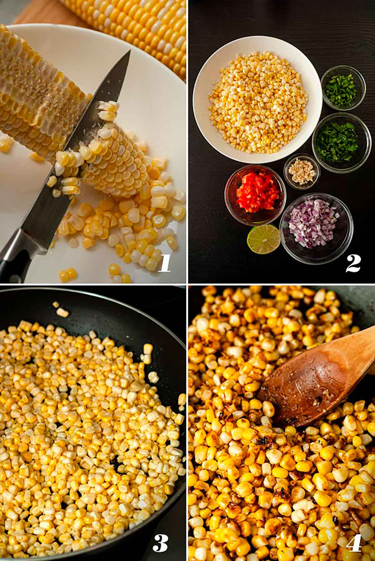 A collage of 4 numbered images showing how to make Mexican street corn salad.