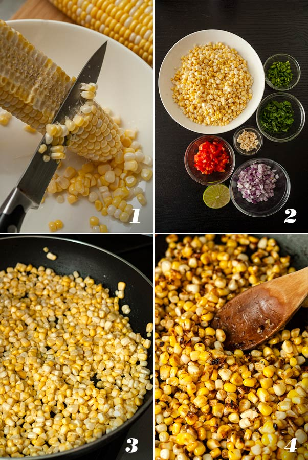 A step by step process of 4 images showing how to make Mexican street corn salad.