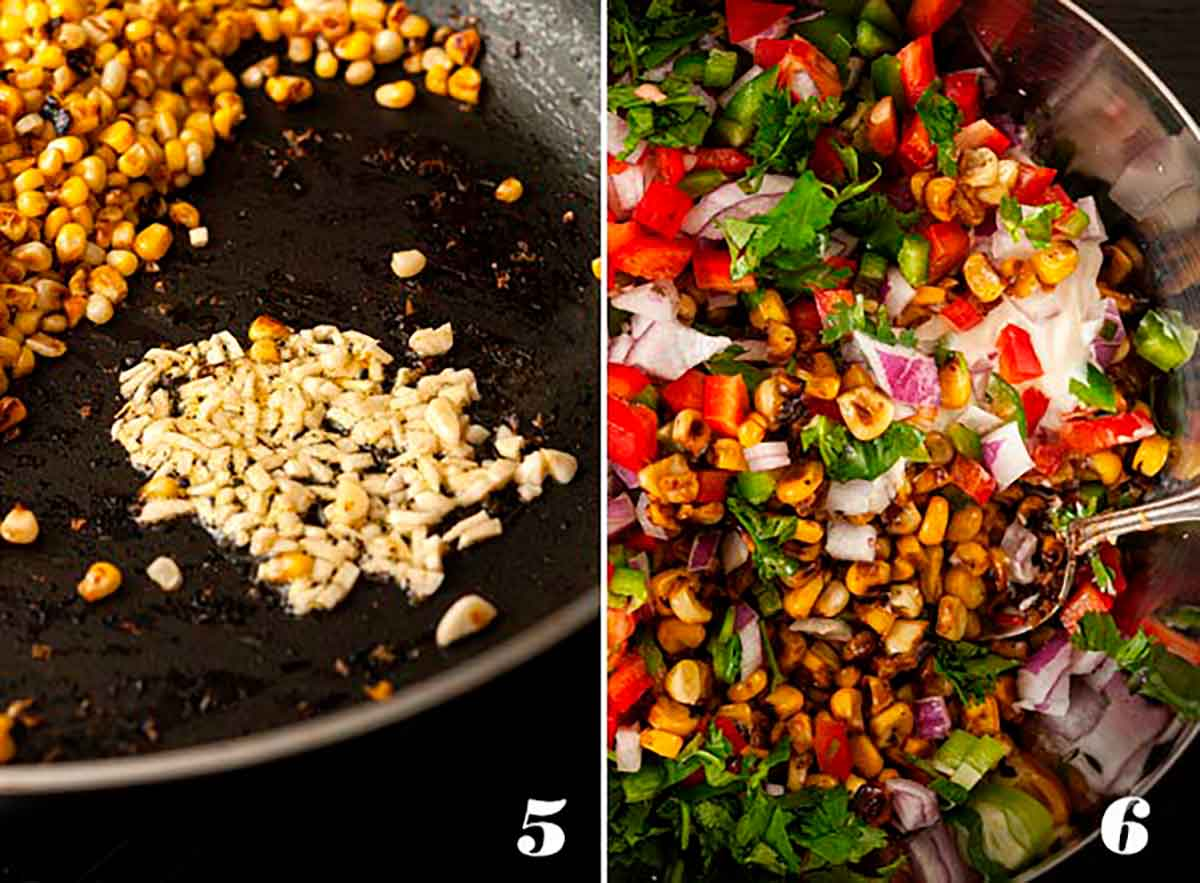A collage of 4 numbered images showing how to mix Mexican street corn salad.