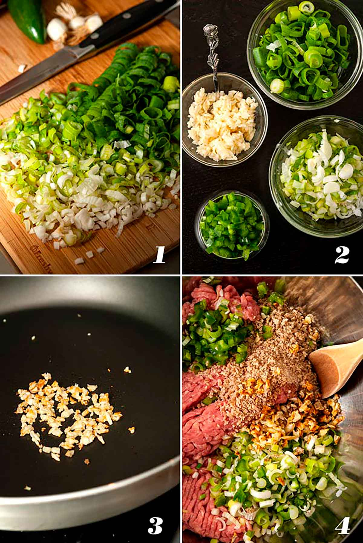 A collage of 4 numbered images showing how to make turkey meatballs.