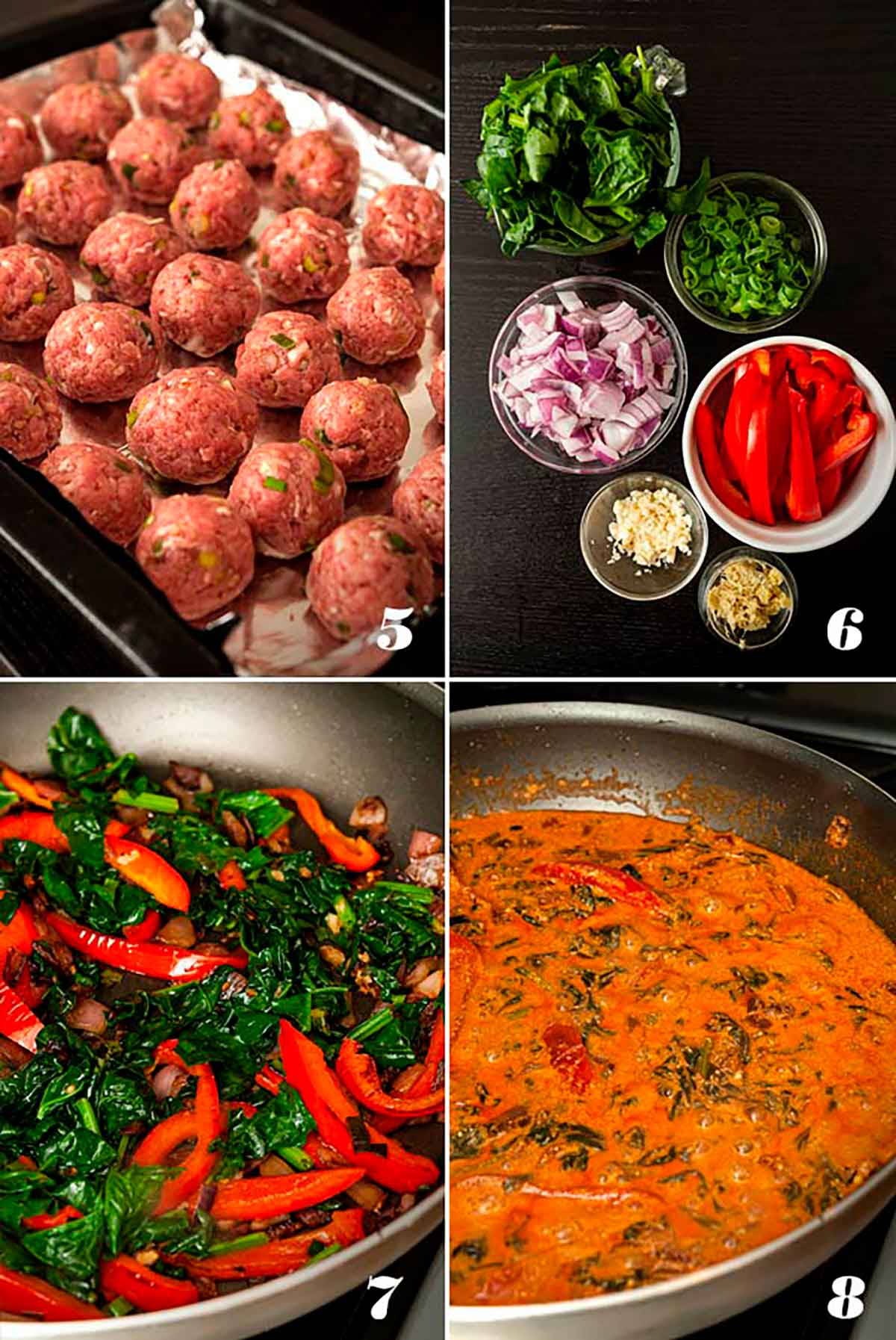 A collage of 4 numbered images showing how to make turkey meatballs and curry sauce.