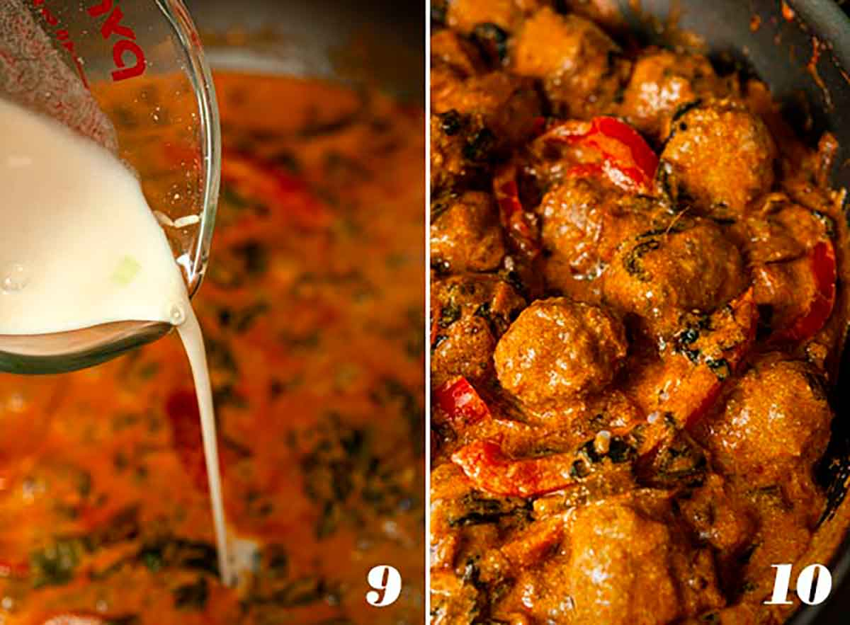 2 numbered images showing how to thicken curry sauce and add meatballs.