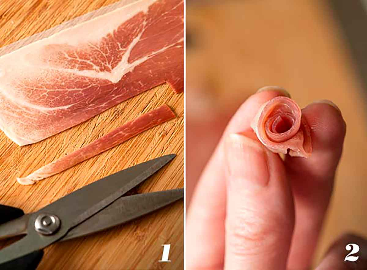A collage of 2 images showing how to make a prosciutto rose.