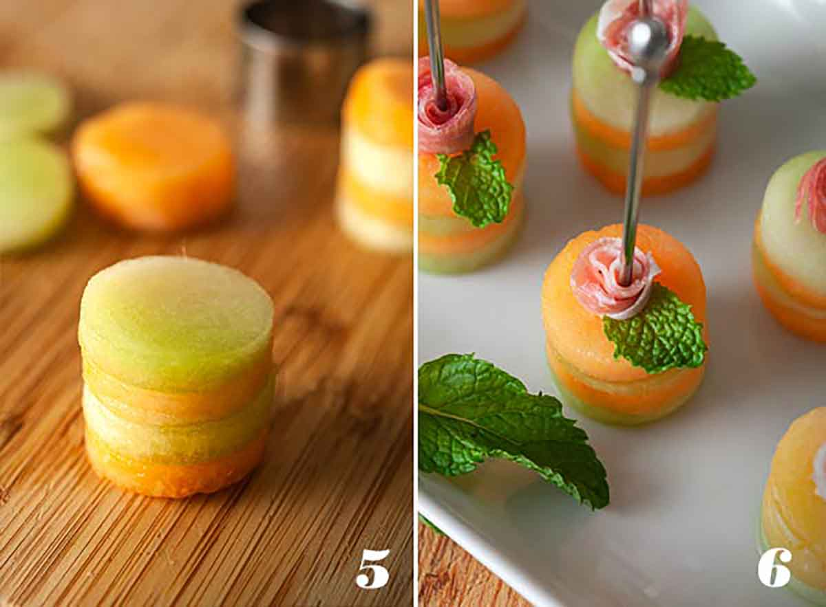 2 images showing how to stack melon slices and add prosciutto roses.
