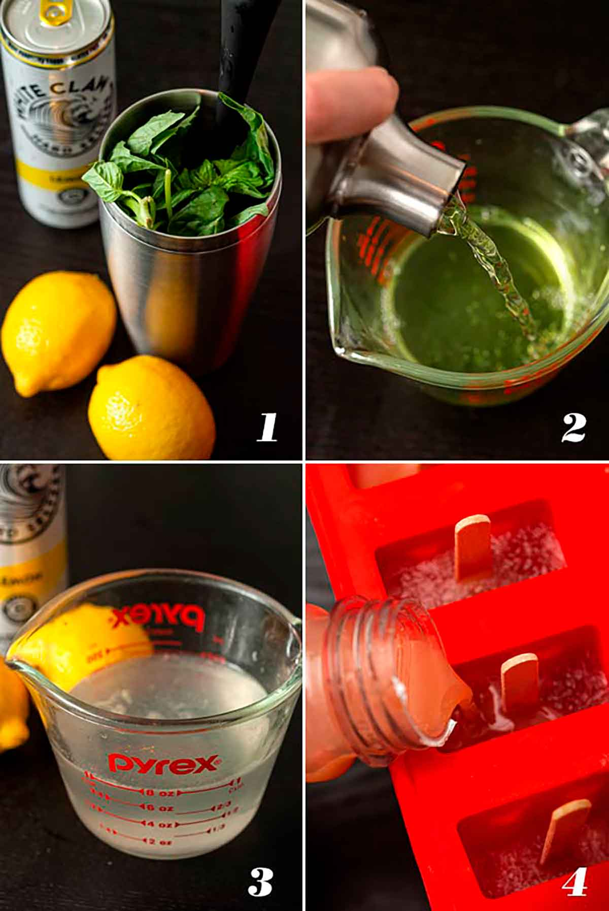 A collage of 4 numbered images showing how to make White Claw ice pops.