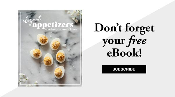 "A book cover with a title that says ""Elegant Appetizers,"" beside a title that says ""Don't forget your free ebook! Subscribe."""