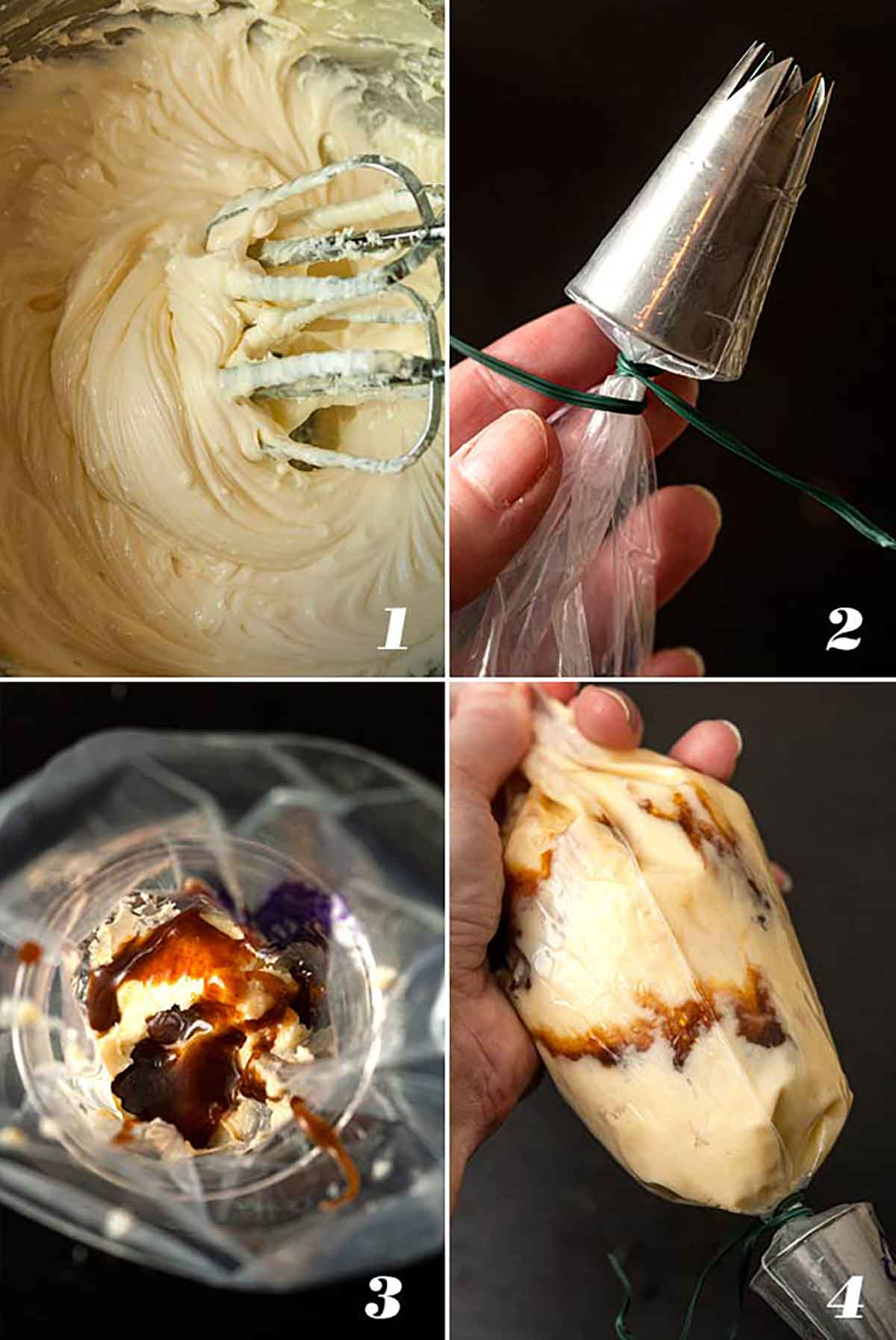 A collage of 4 images showing how to make caramel cream cheese frosting.