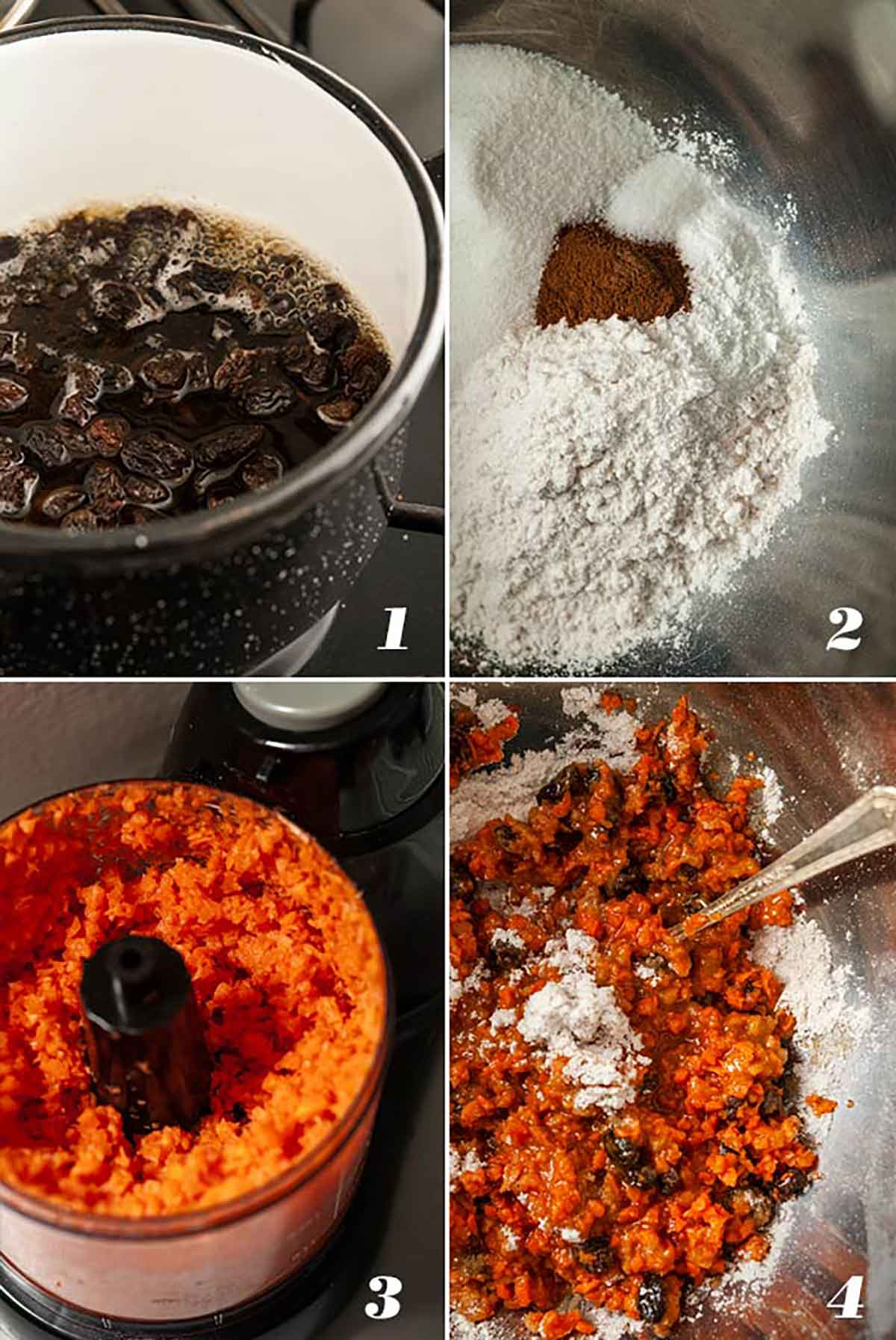 A collage of 4 images showing how to make whisky raisins and mixing carrot batter.