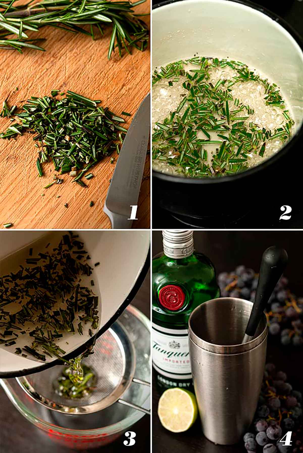 A collage of 4 images showing how to make a rosemary-grape cocktail.