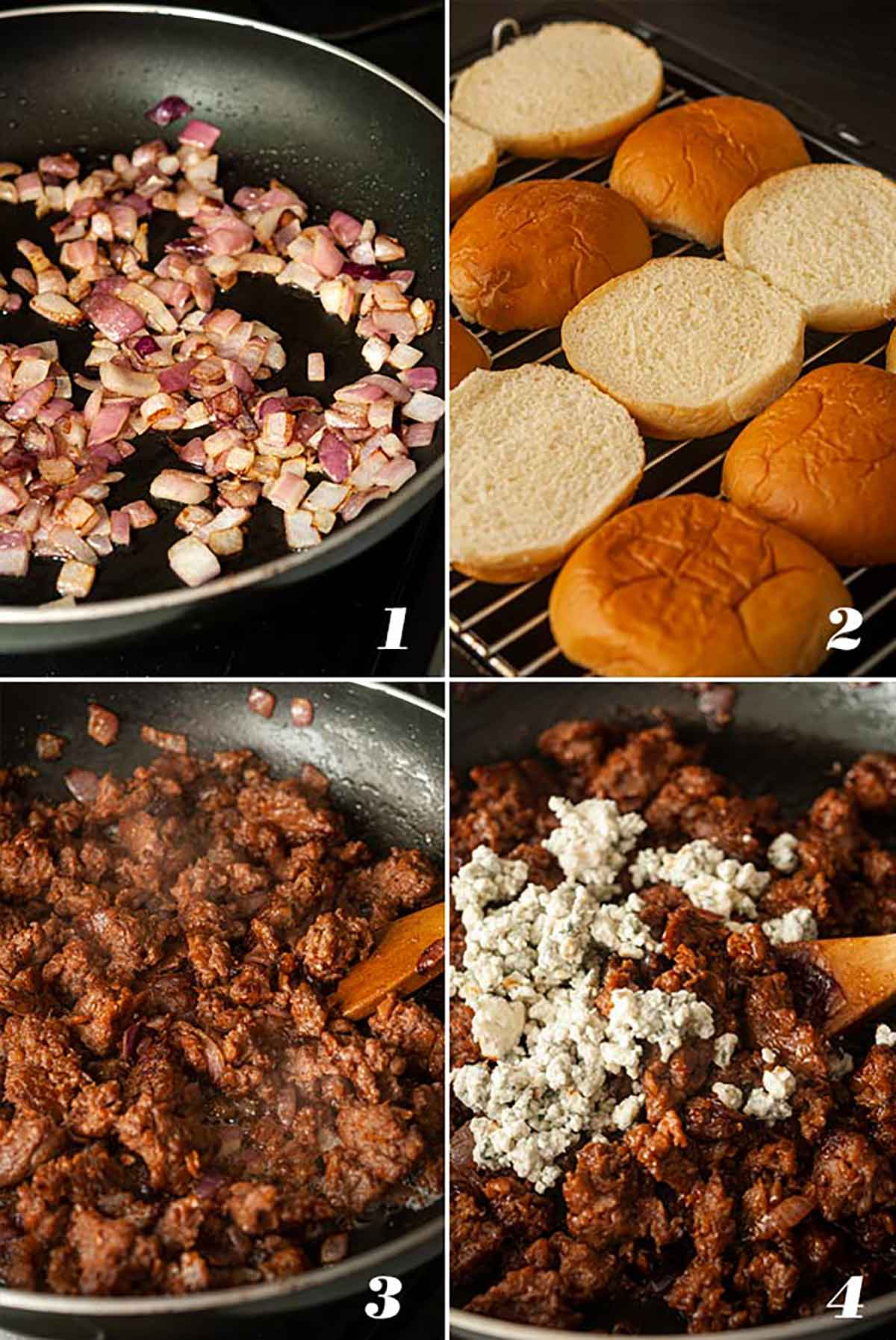 A collage of 4 numbered images showing how to prepare slider ingredients.