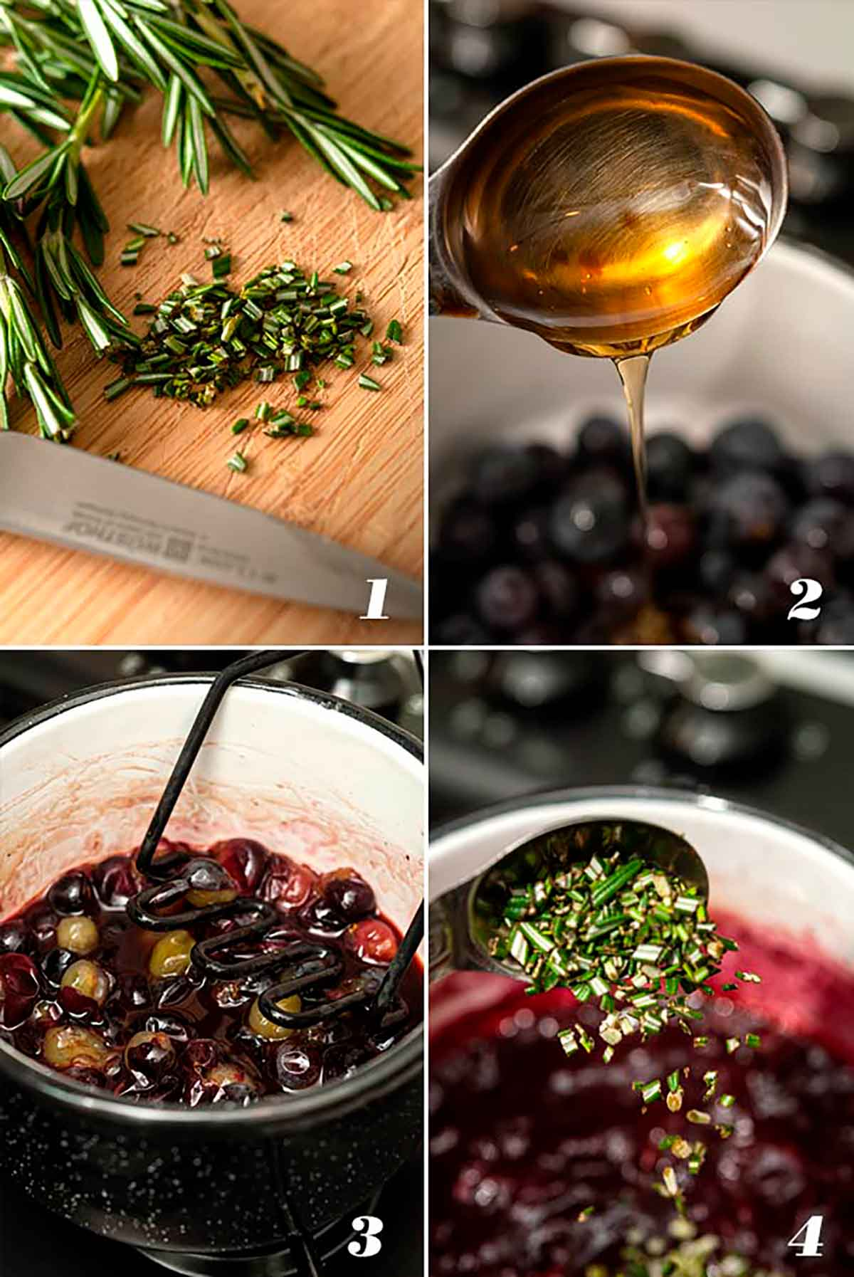 A collage of 4 images showing how to make concord grape reduction.