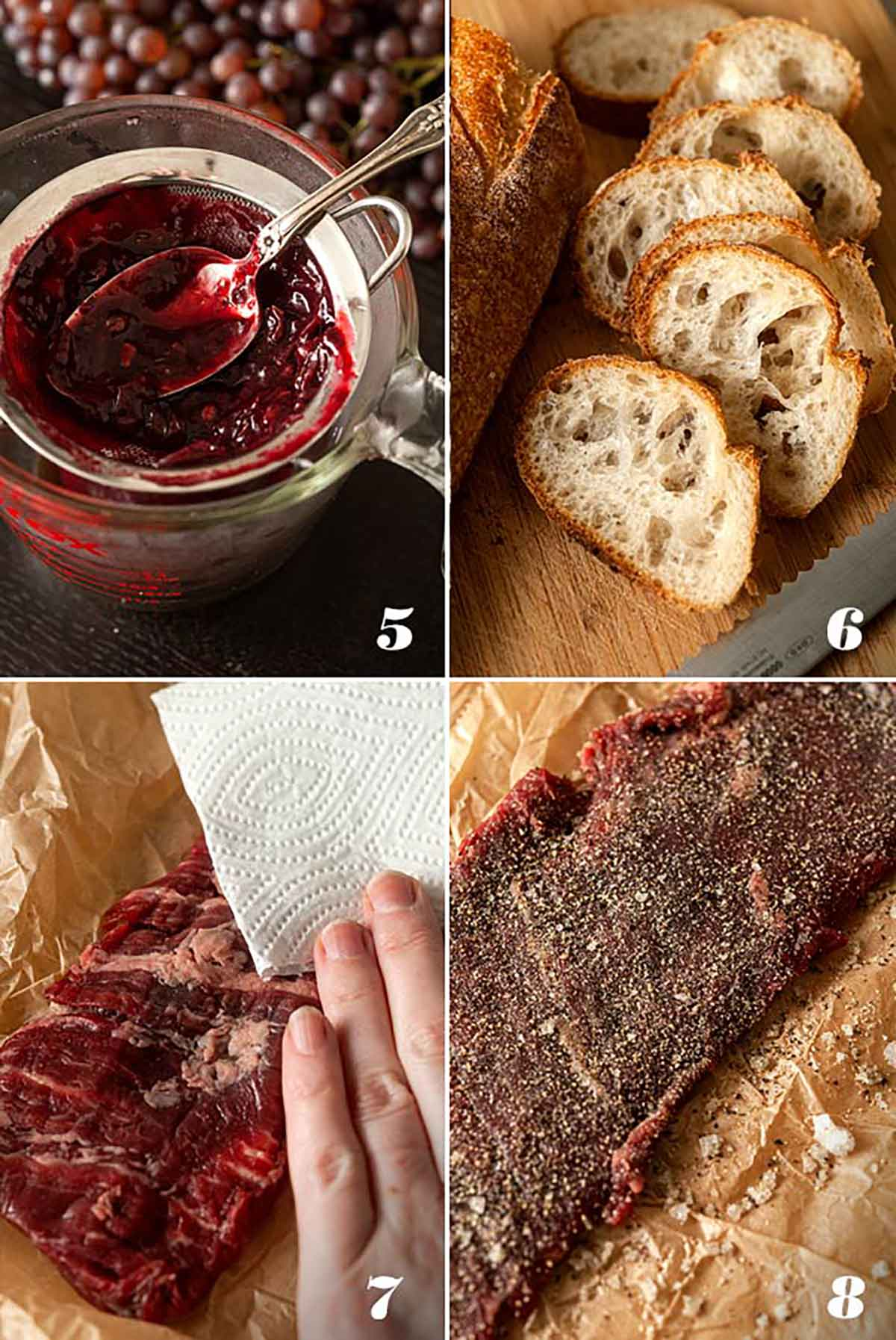 A collage of 4 images showing how to prepare ingredients for steak appetizers.