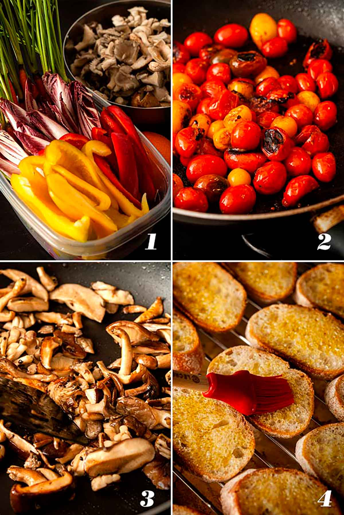 A step by step process showing how to prepare a crudités platter.
