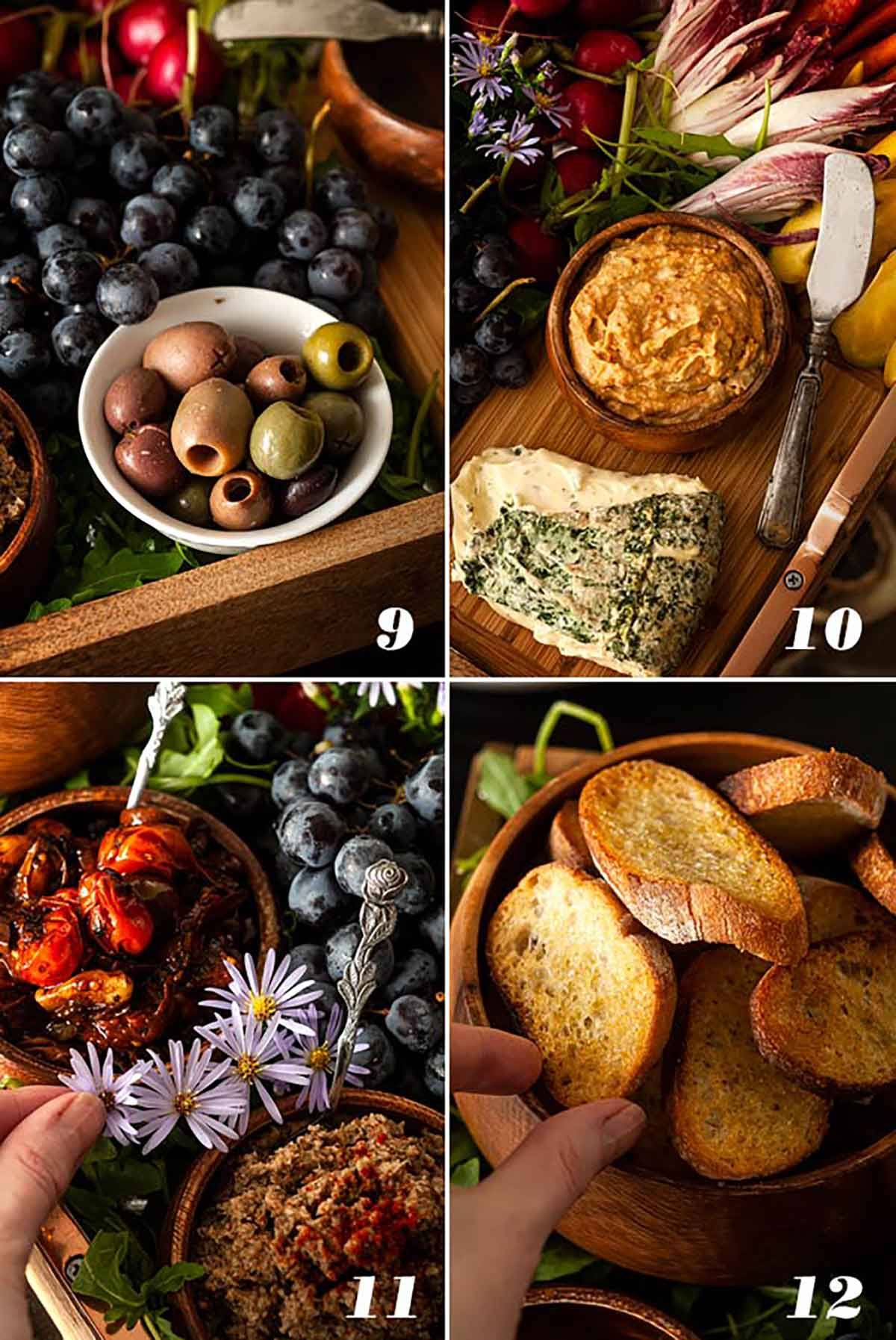 A step by step process showing how to assemble a cheese and crudités platter.