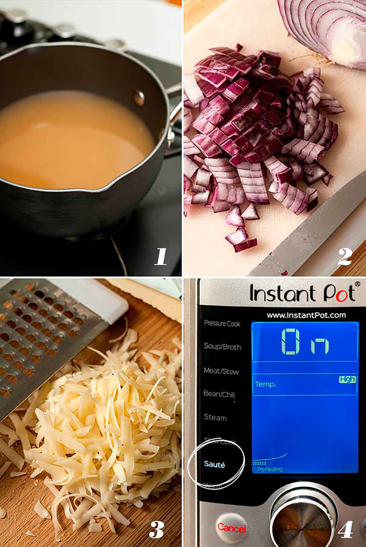 A collage of 4 numbered images showing how to heat broth, dice onion, grate cheese and set pot to sauté.