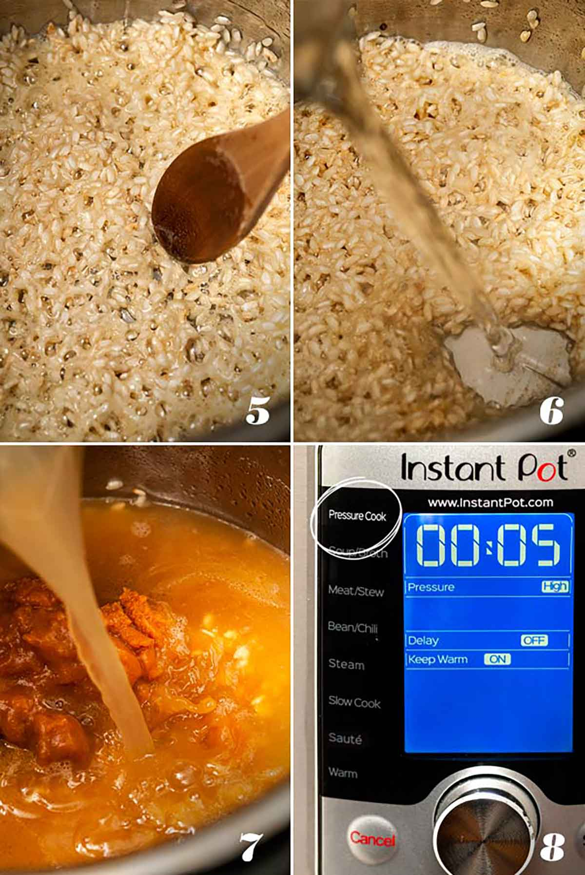 A collage of 4 numbered images showing how to toast risotto, deglaze pot, add ingredients, and set pot to Pressure Cook.