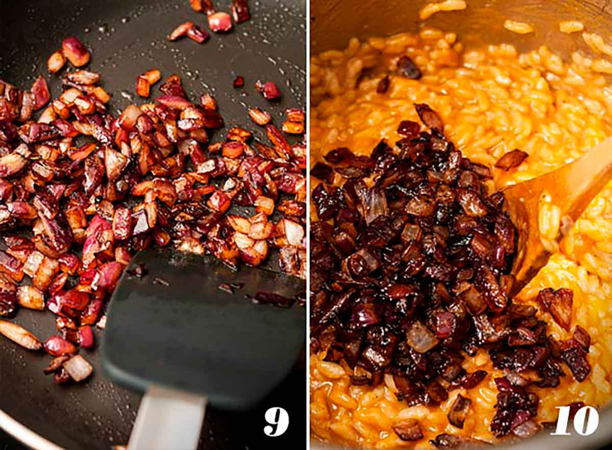 2 numbered images showing how to sauté and caramelize onions, and mix onions into pumpkin risotto.