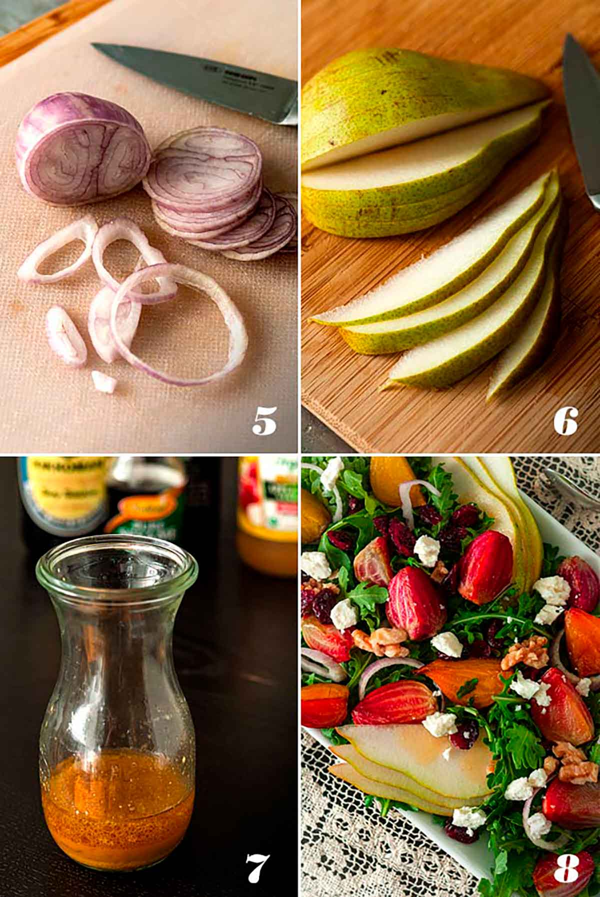 A collage of 4 numbered images showing how to slice vegetables, make vinaigrette and assemble salad.
