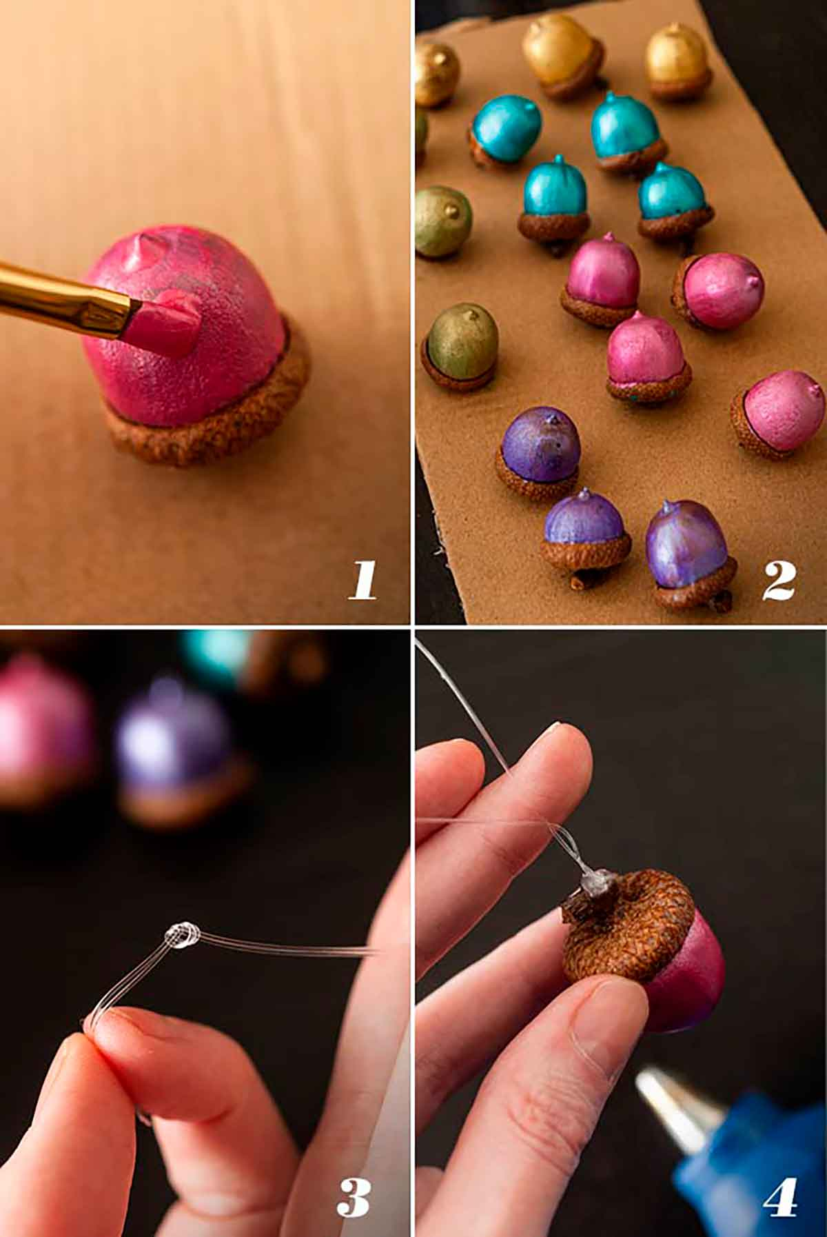 A collage of 4 numbered images showing how to paint acorns and glue string to the caps.